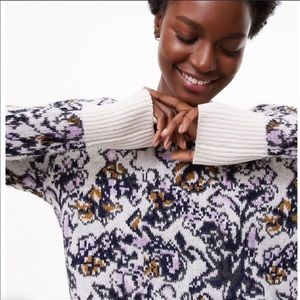 Loft chunky knit painterly floral sweater